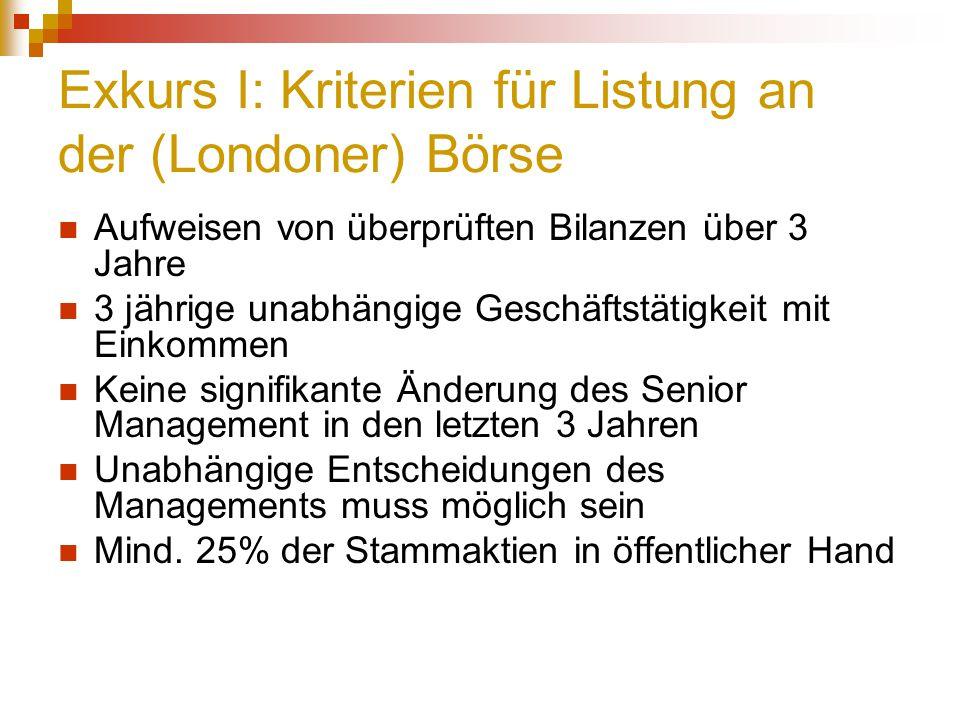 Exkurs I: Kriterien für Listung an der (Londoner) Börse