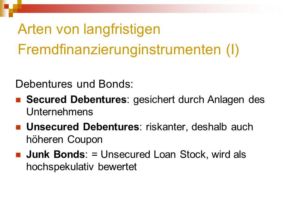 Arten von langfristigen Fremdfinanzierunginstrumenten (I)