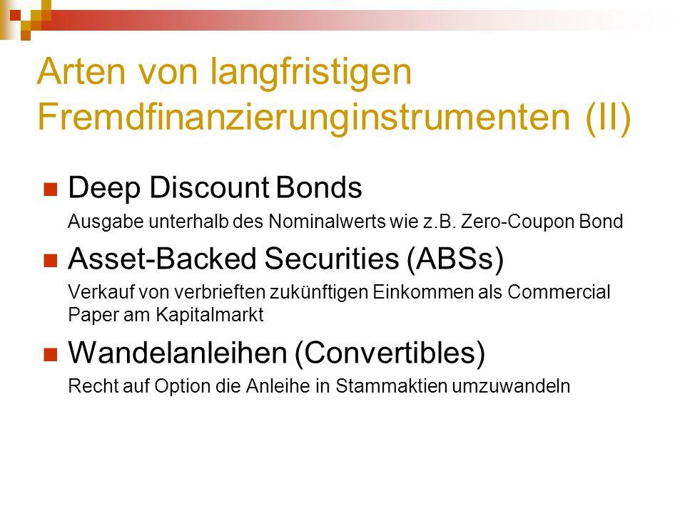 Arten von langfristigen Fremdfinanzierunginstrumenten (II)
