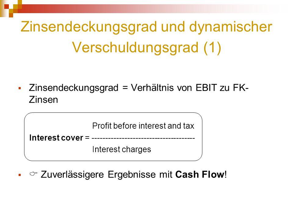 Zinsendeckungsgrad und dynamischer Verschuldungsgrad (1)