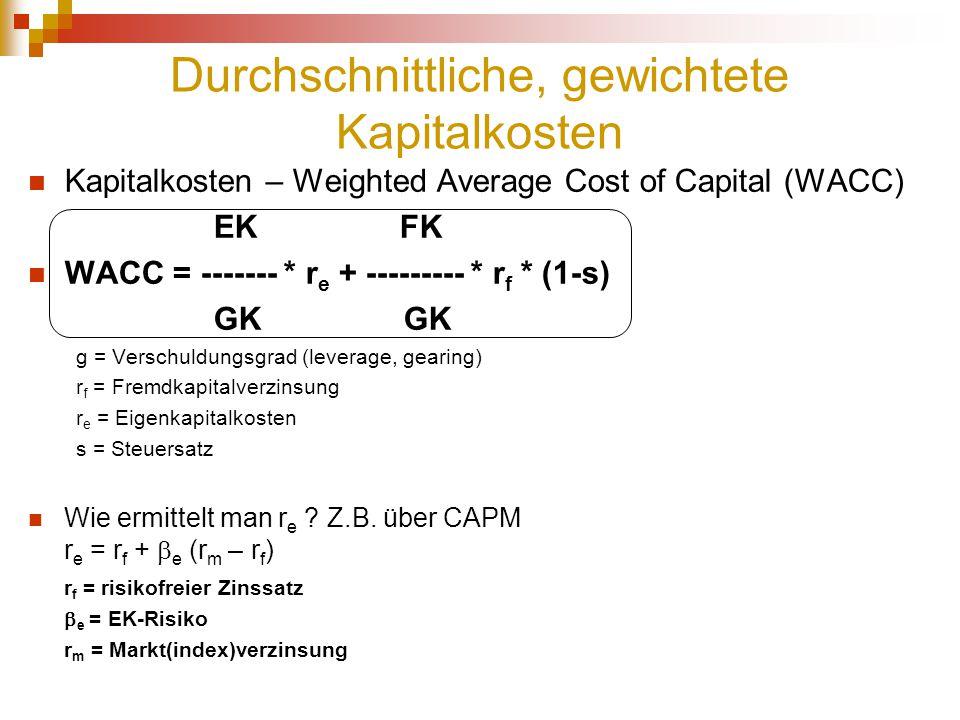 Durchschnittliche, gewichtete Kapitalkosten