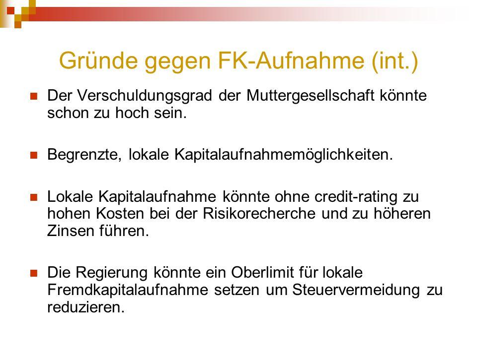 Gründe gegen FK-Aufnahme (int.)