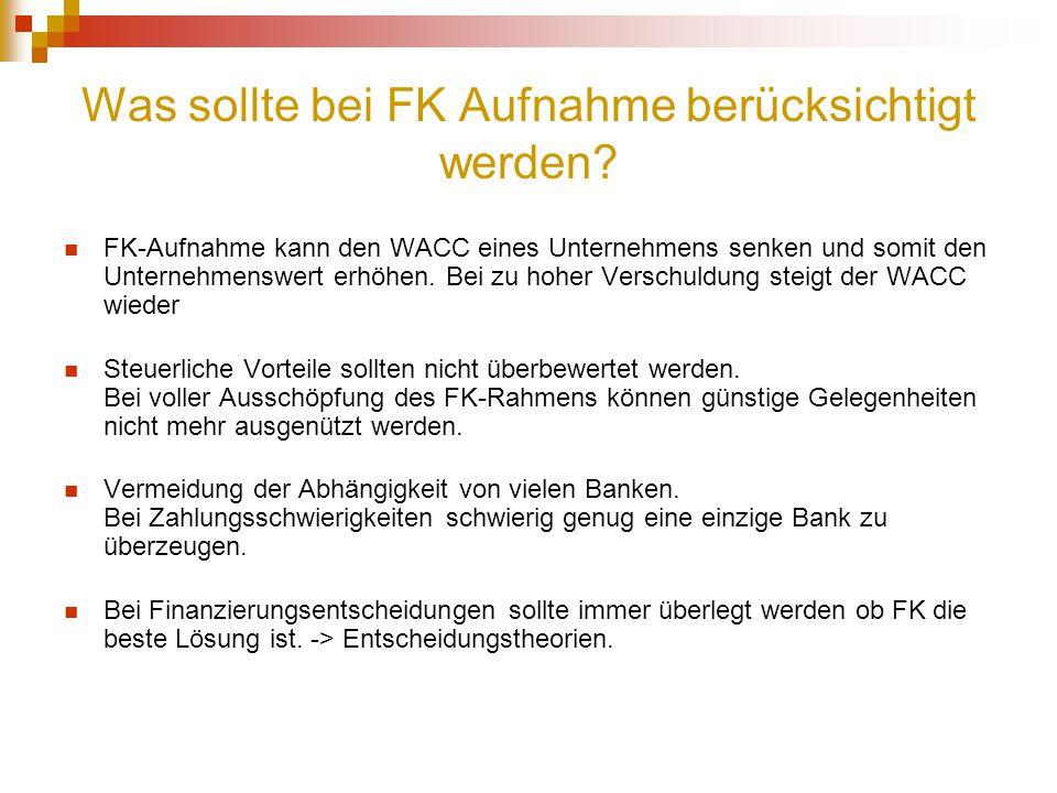 Was sollte bei FK Aufnahme berücksichtigt werden