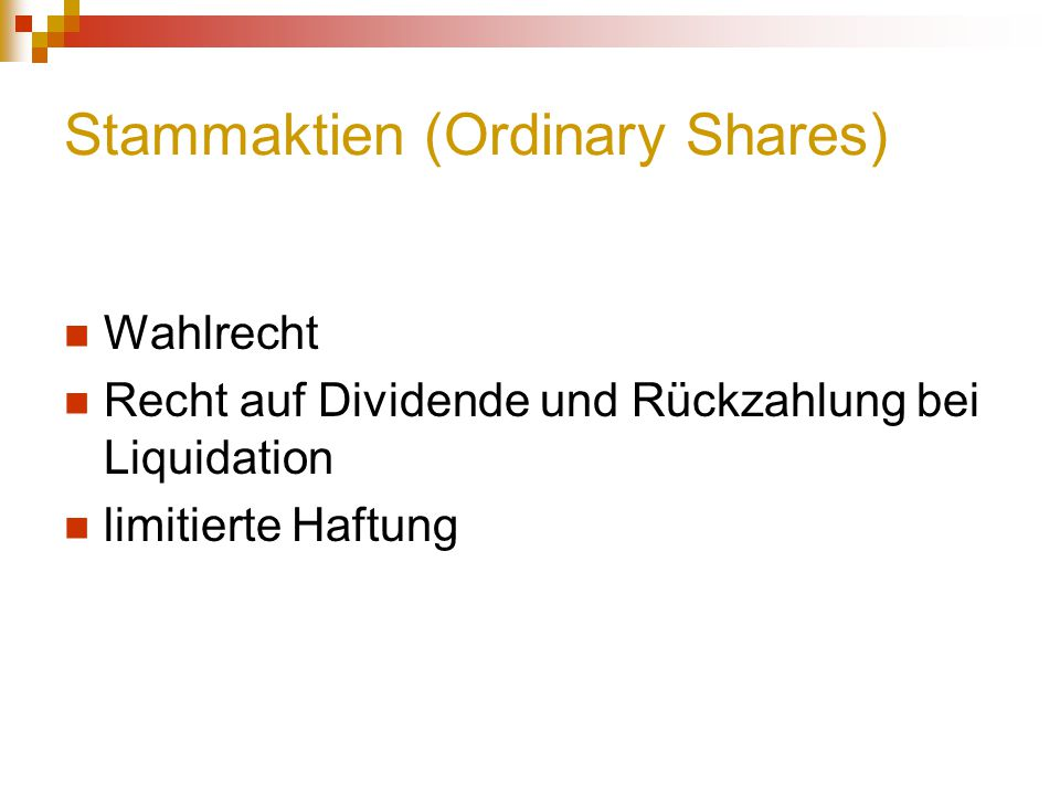 Stammaktien (Ordinary Shares)