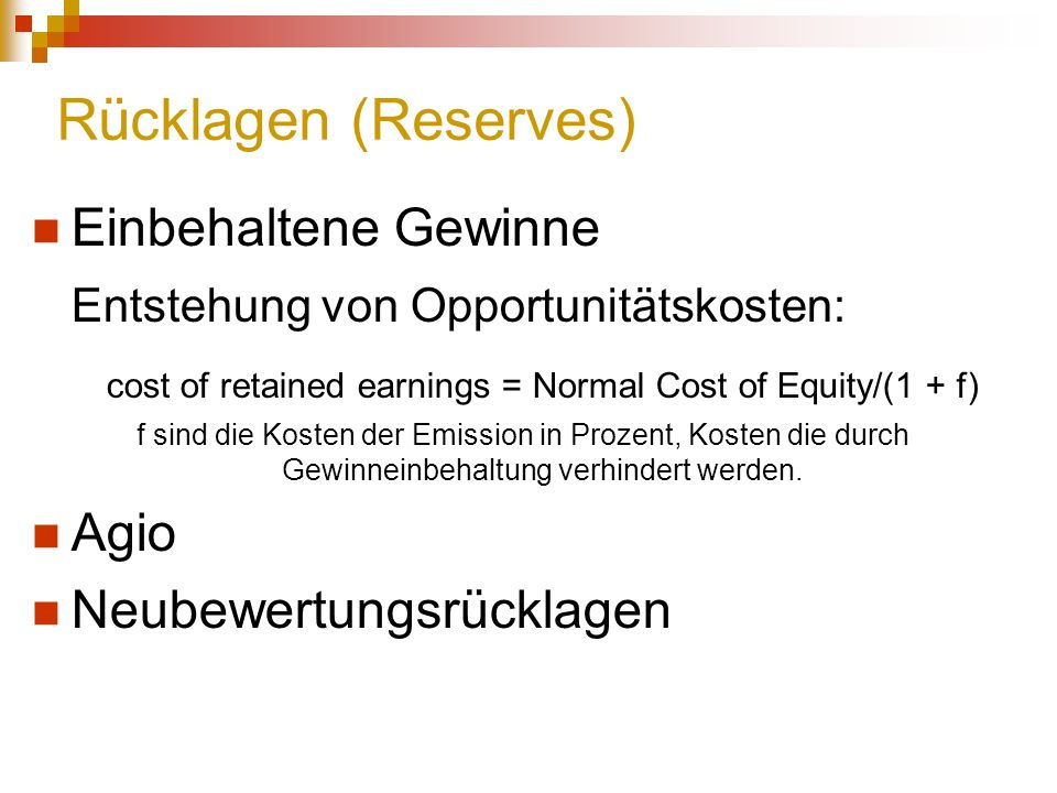 cost of retained earnings = Normal Cost of Equity/(1 + f)