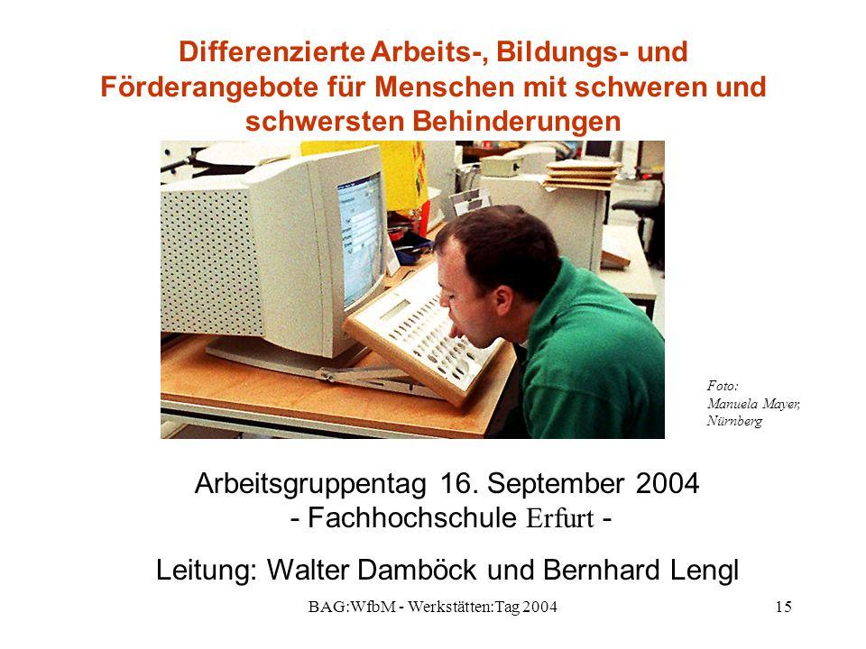 Arbeitsgruppentag 16. September 2004 - Fachhochschule Erfurt -