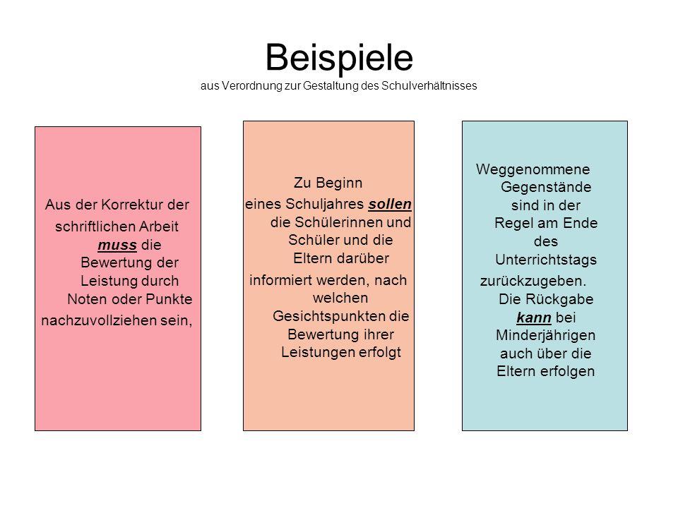 Beispiele aus Verordnung zur Gestaltung des Schulverhältnisses