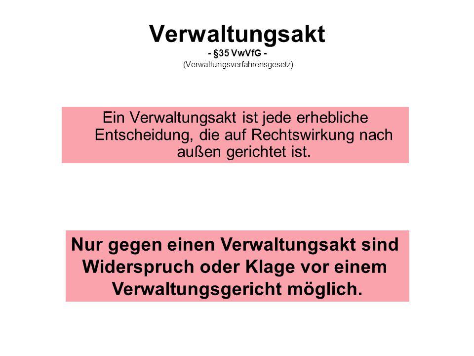Verwaltungsakt - §35 VwVfG - (Verwaltungsverfahrensgesetz)