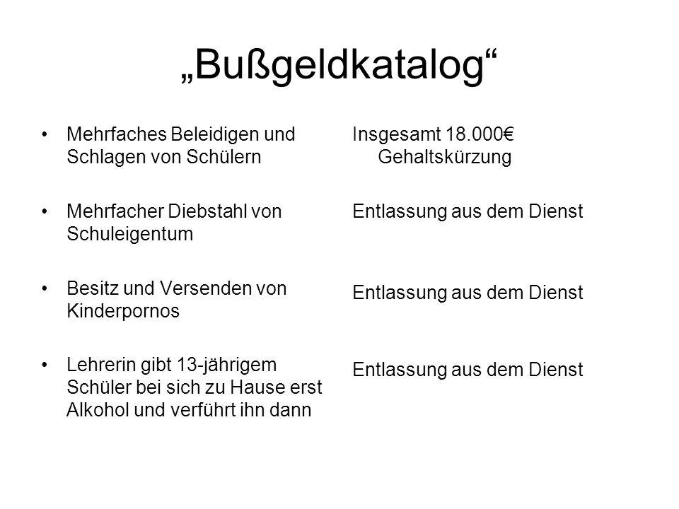 """""""Bußgeldkatalog Mehrfaches Beleidigen und Schlagen von Schülern"""
