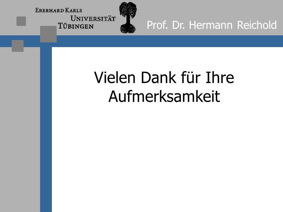 Vielen Dank für Ihre Aufmerksamkeit Prof. Dr. Hermann Reichold