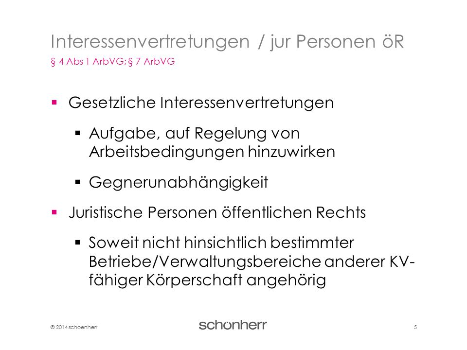 Interessenvertretungen / jur Personen öR