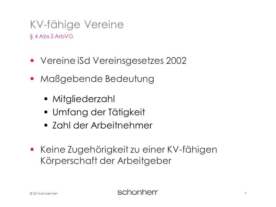 KV-fähige Vereine Vereine iSd Vereinsgesetzes 2002