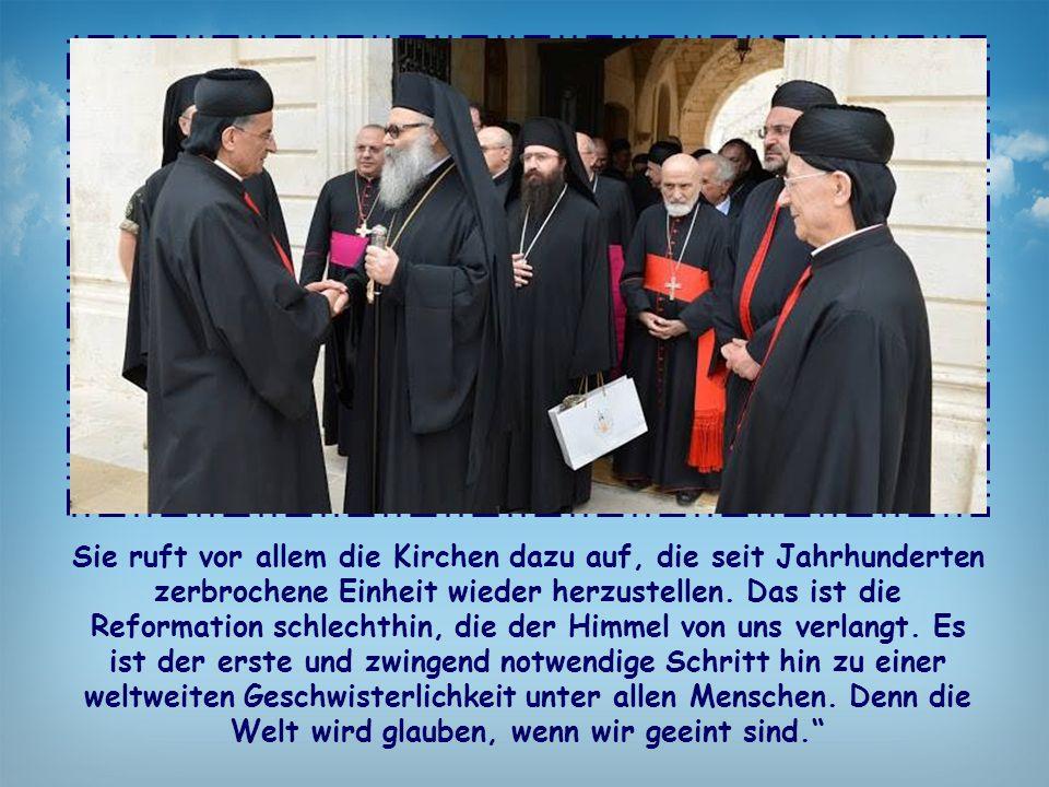Sie ruft vor allem die Kirchen dazu auf, die seit Jahrhunderten zerbrochene Einheit wieder herzustellen.