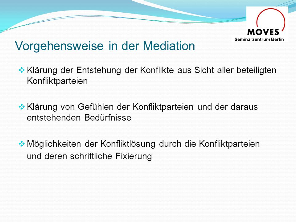 Vorgehensweise in der Mediation