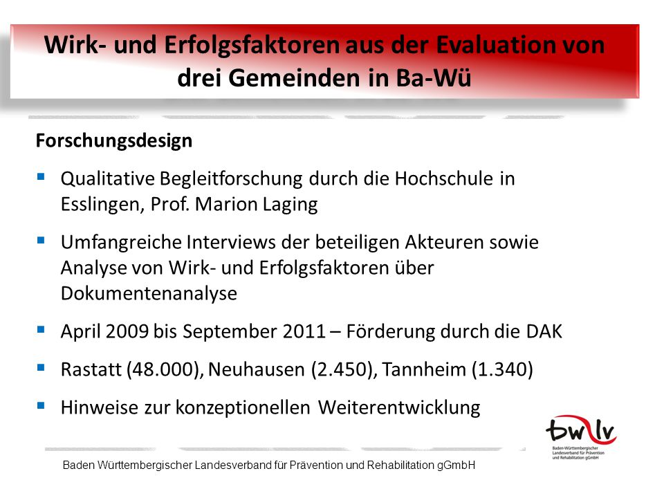 Wirk- und Erfolgsfaktoren aus der Evaluation von drei Gemeinden in Ba-Wü