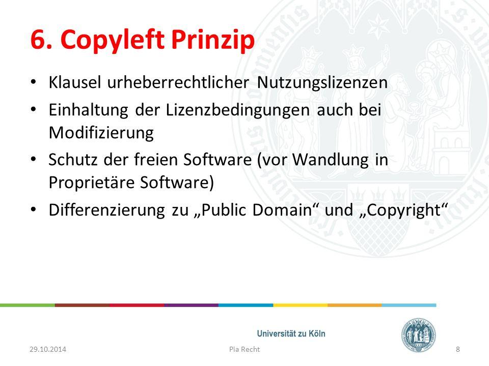 6. Copyleft Prinzip Klausel urheberrechtlicher Nutzungslizenzen