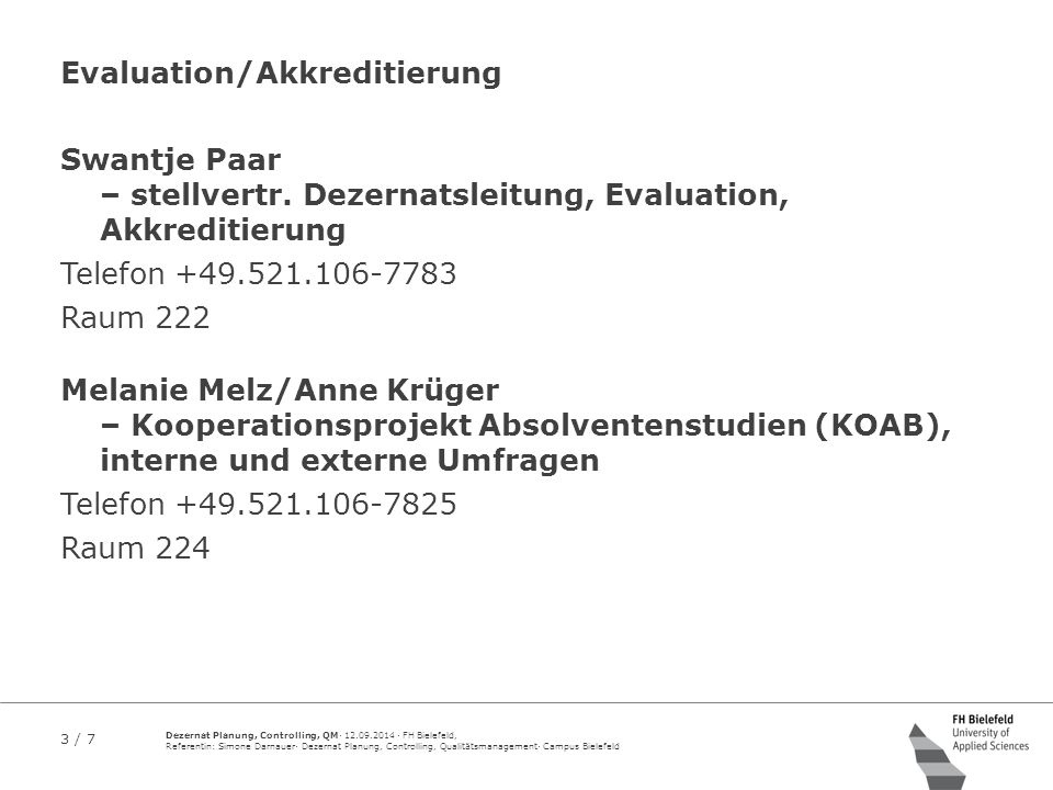 Evaluation/Akkreditierung