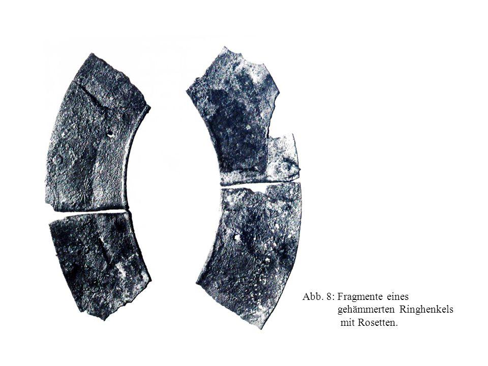 Abb. 8: Fragmente eines gehämmerten Ringhenkels mit Rosetten.