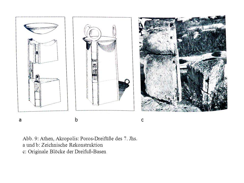 a b c Abb. 9: Athen, Akropolis: Poros-Dreifüße des 7. Jhs.