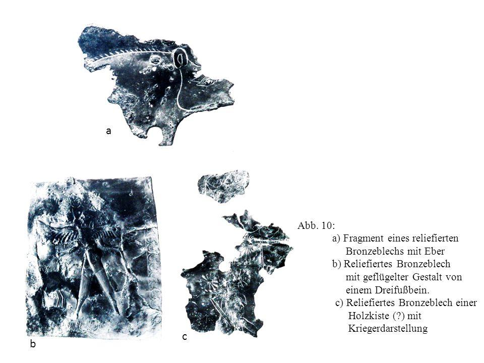 a c b Abb. 10: a) Fragment eines reliefierten Bronzeblechs mit Eber