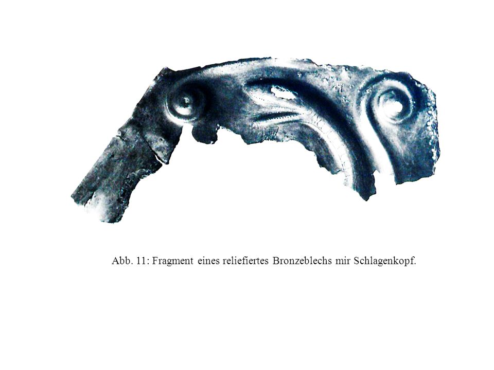 Abb. 11: Fragment eines reliefiertes Bronzeblechs mir Schlagenkopf.
