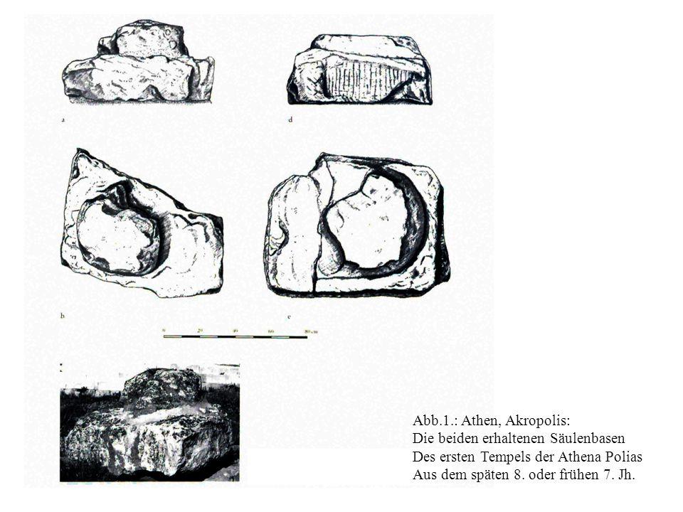 Abb.1.: Athen, Akropolis: Die beiden erhaltenen Säulenbasen. Des ersten Tempels der Athena Polias.
