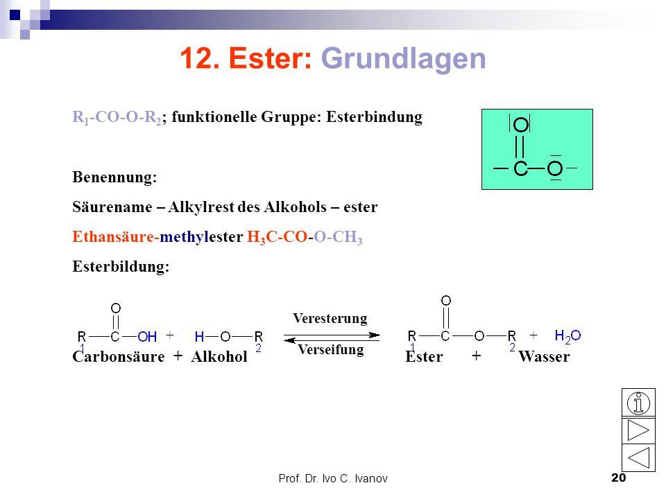 12. Ester: Grundlagen R1-CO-O-R2; funktionelle Gruppe: Esterbindung