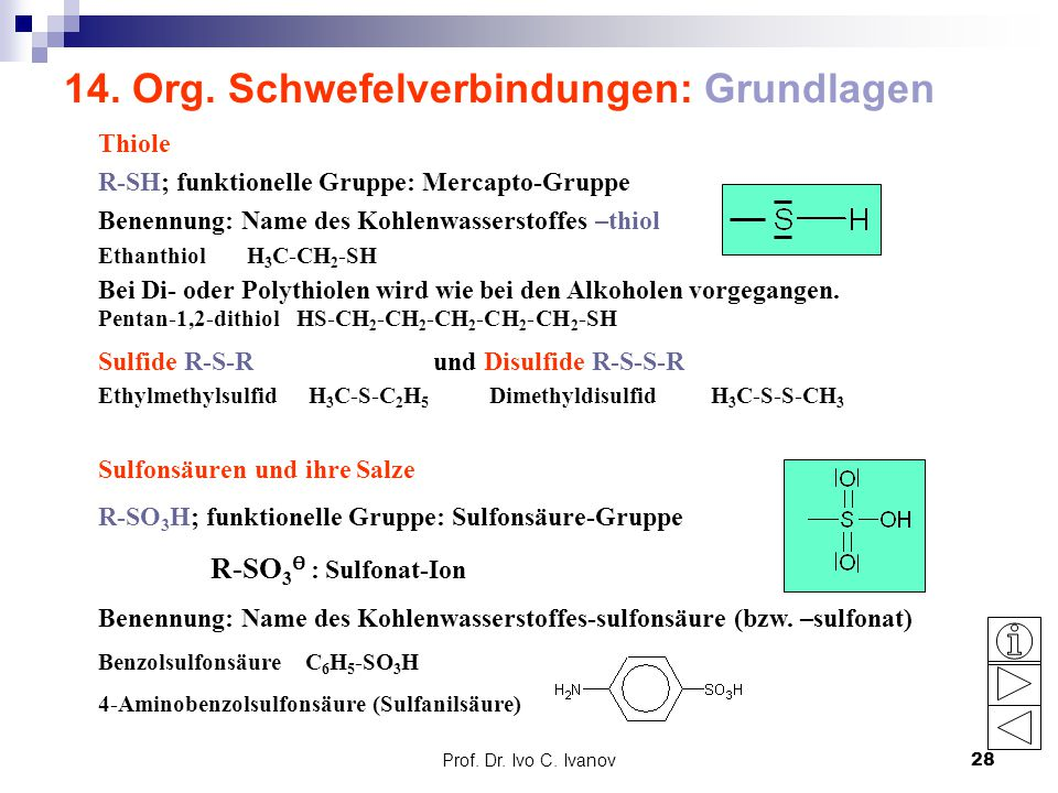14. Org. Schwefelverbindungen: Grundlagen