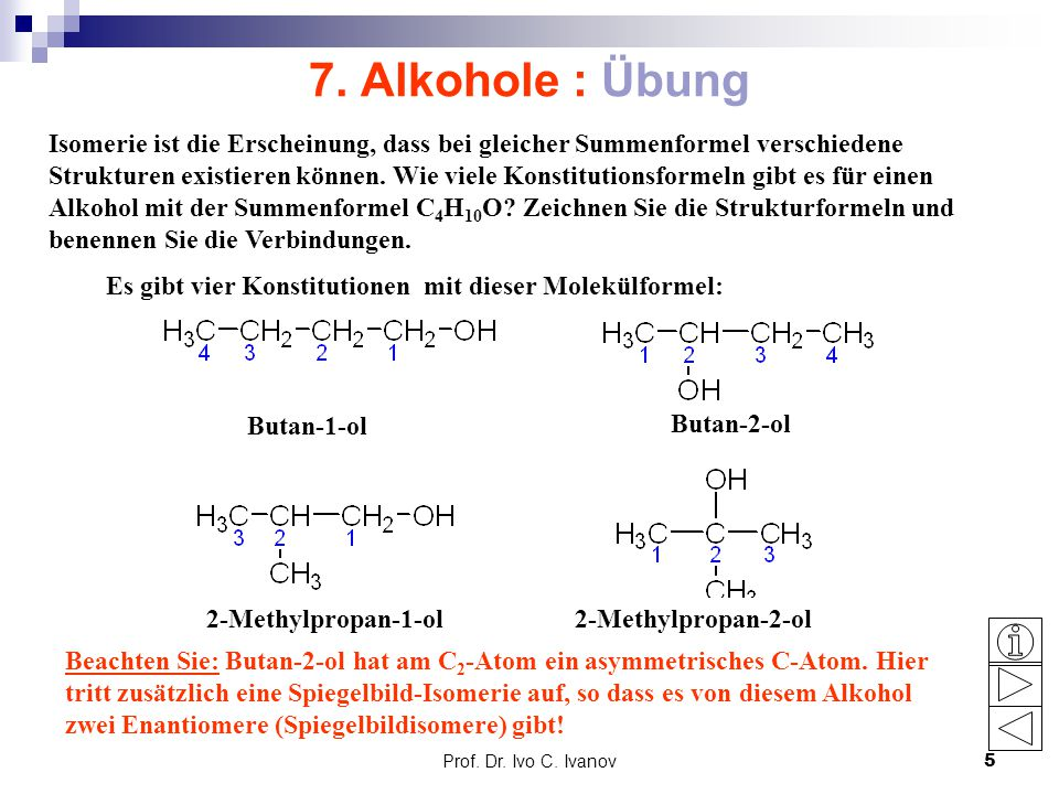 7. Alkohole : Übung