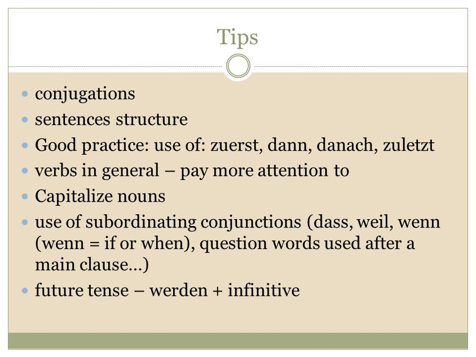 Tips conjugations sentences structure