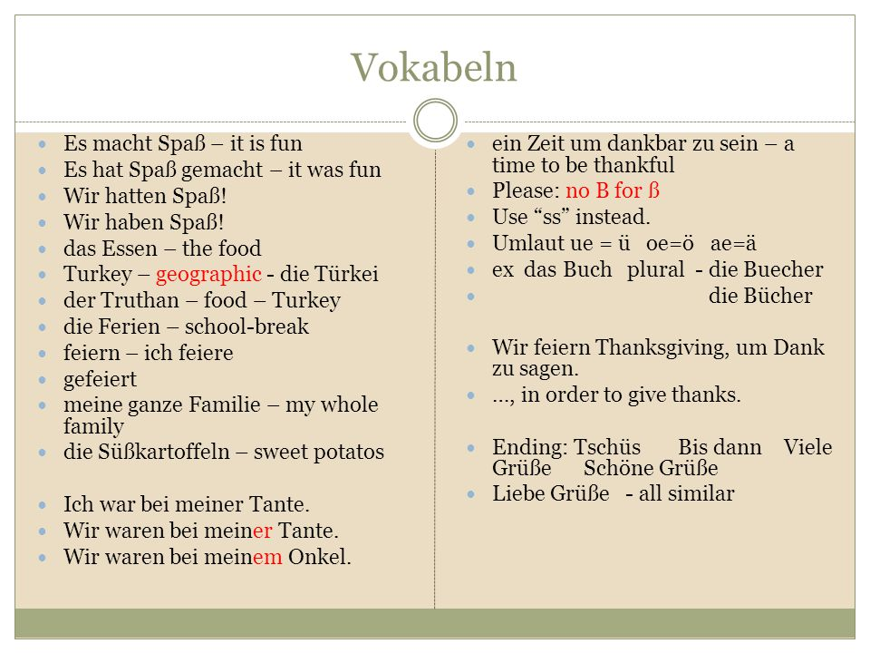 Vokabeln Es macht Spaß – it is fun Es hat Spaß gemacht – it was fun
