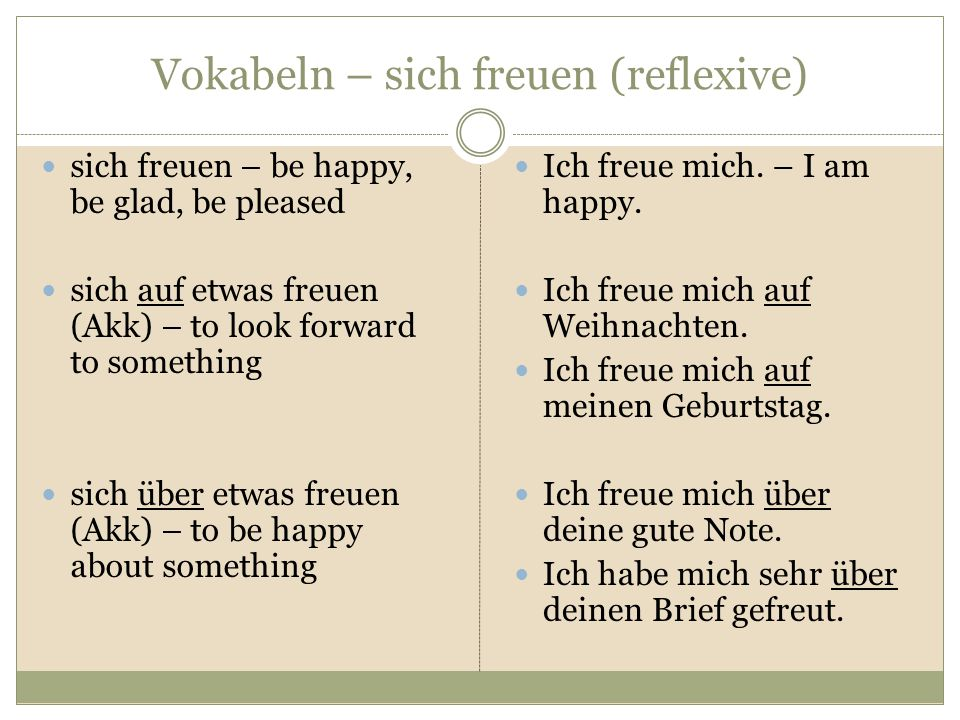 Vokabeln – sich freuen (reflexive)