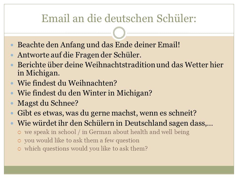 Email an die deutschen Schüler: