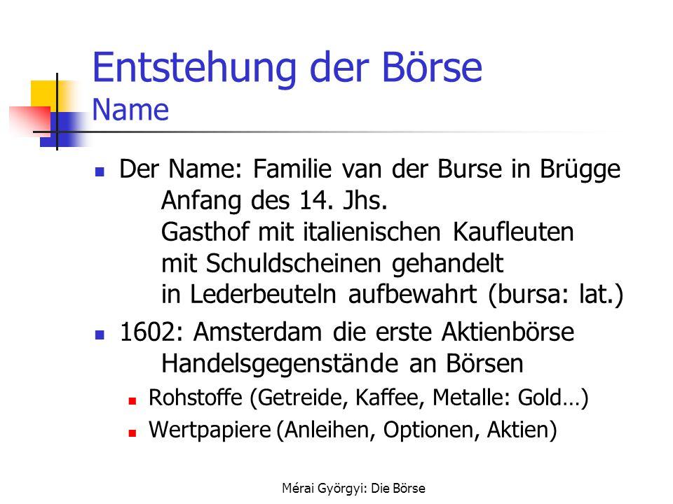Entstehung der Börse Name
