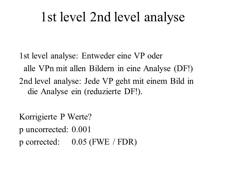 1st level 2nd level analyse