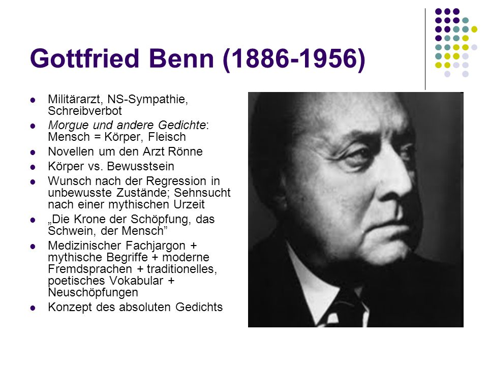 Gottfried Benn (1886-1956) Militärarzt, NS-Sympathie, Schreibverbot