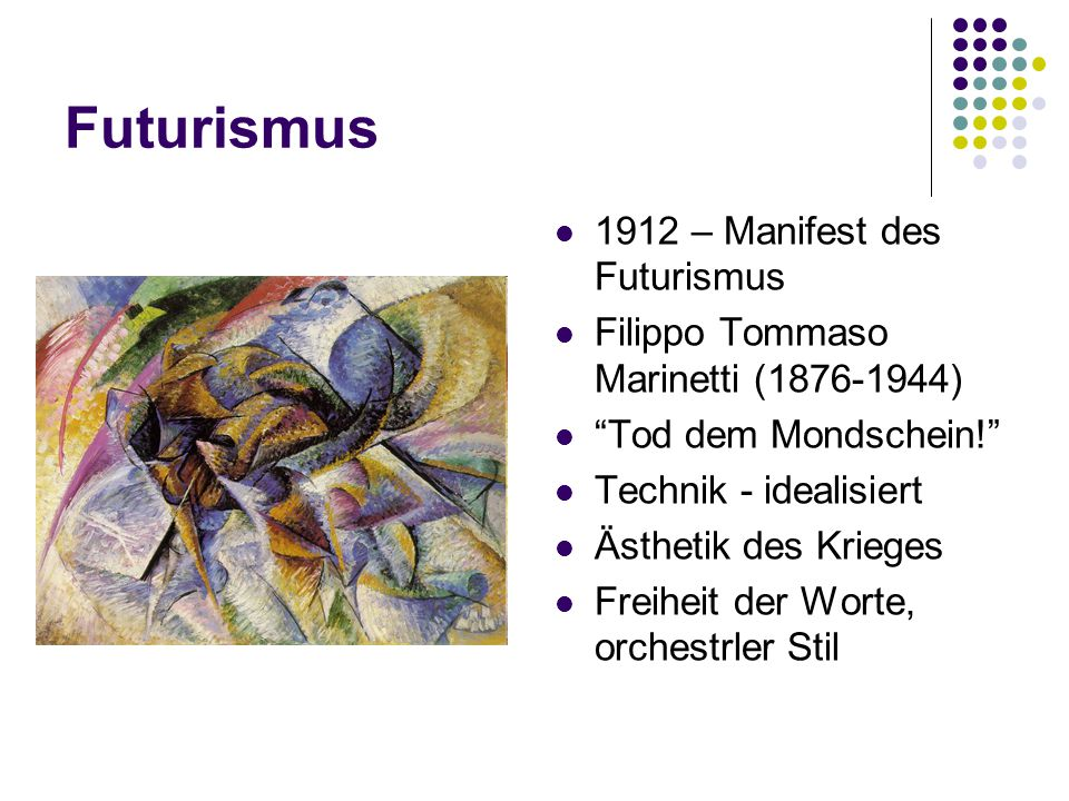 Futurismus 1912 – Manifest des Futurismus