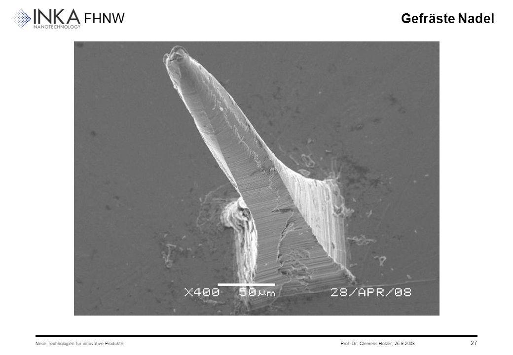 Gefräste Nadel Neue Technologien für innovative Produkte Prof. Dr. Clemens Holzer, 26.9.2008