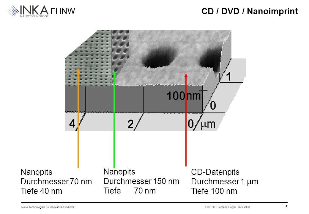 CD / DVD / Nanoimprint Nanopits Durchmesser 70 nm Tiefe 40 nm Nanopits