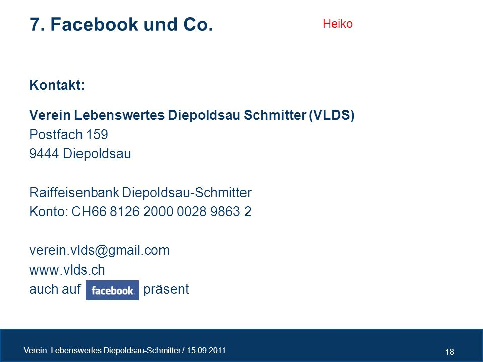 7. Facebook und Co. Kontakt: