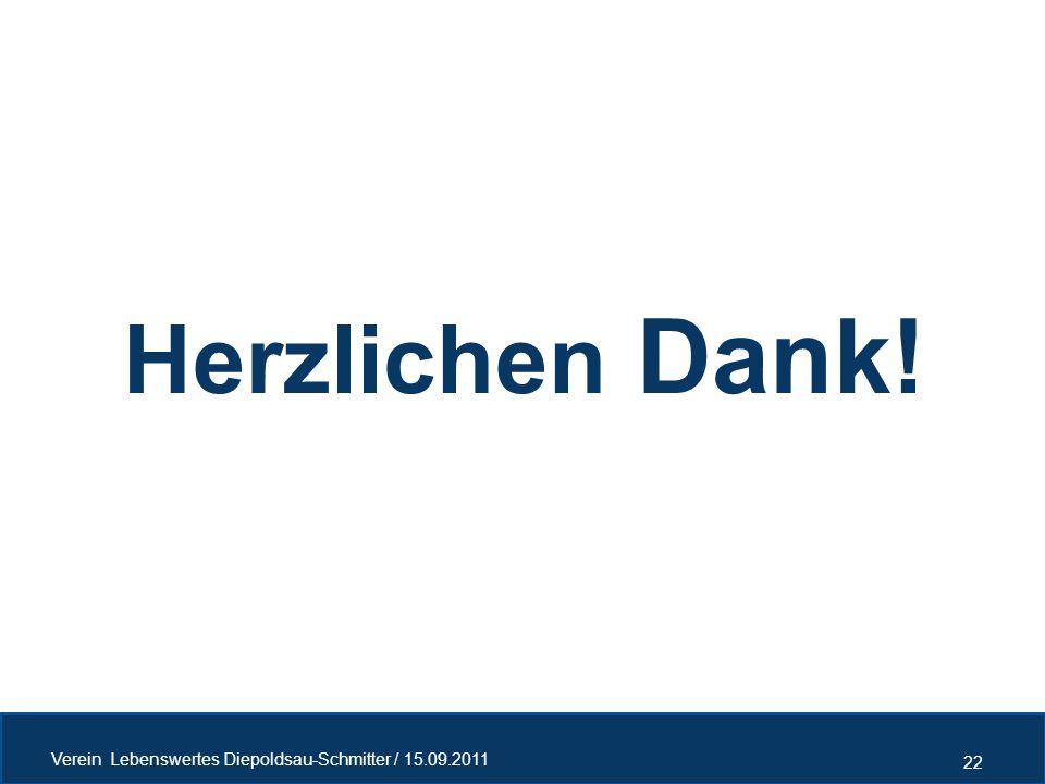 Herzlichen Dank! Verein Lebenswertes Diepoldsau-Schmitter / 15.09.2011