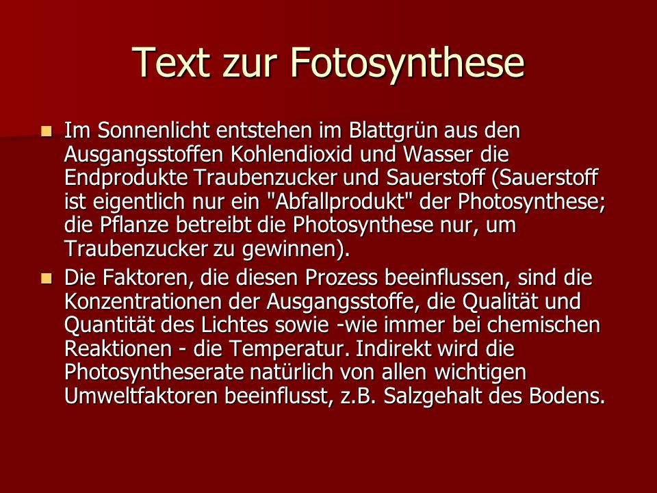 Text zur Fotosynthese