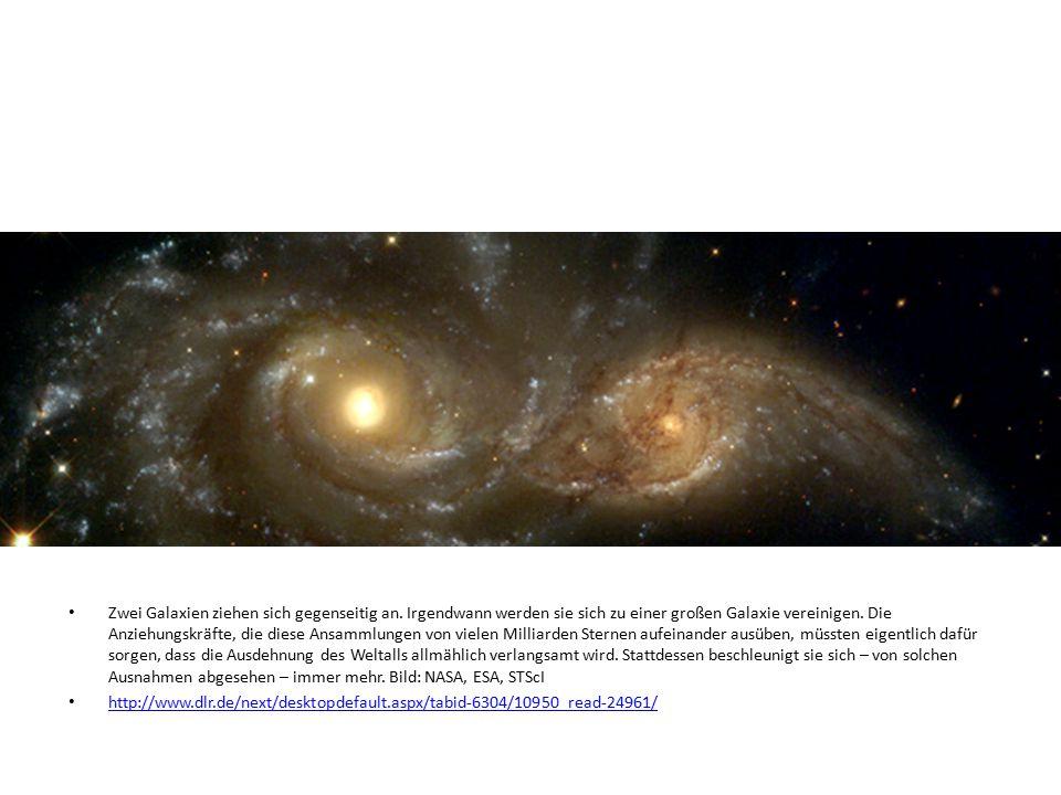 Zwei Galaxien ziehen sich gegenseitig an