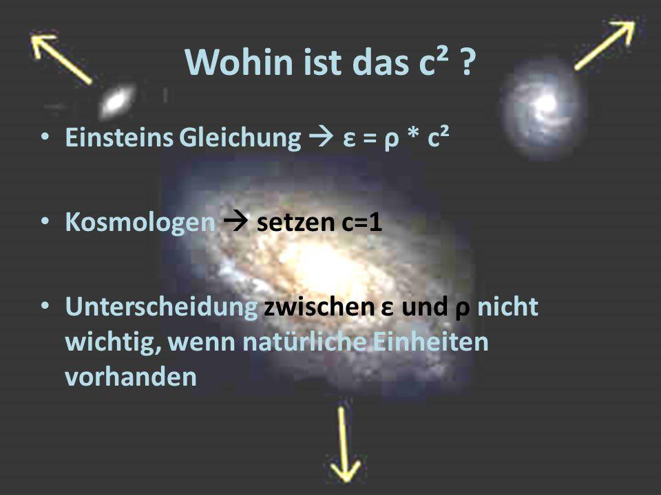 Wohin ist das c² Einsteins Gleichung  ε = ρ * c²