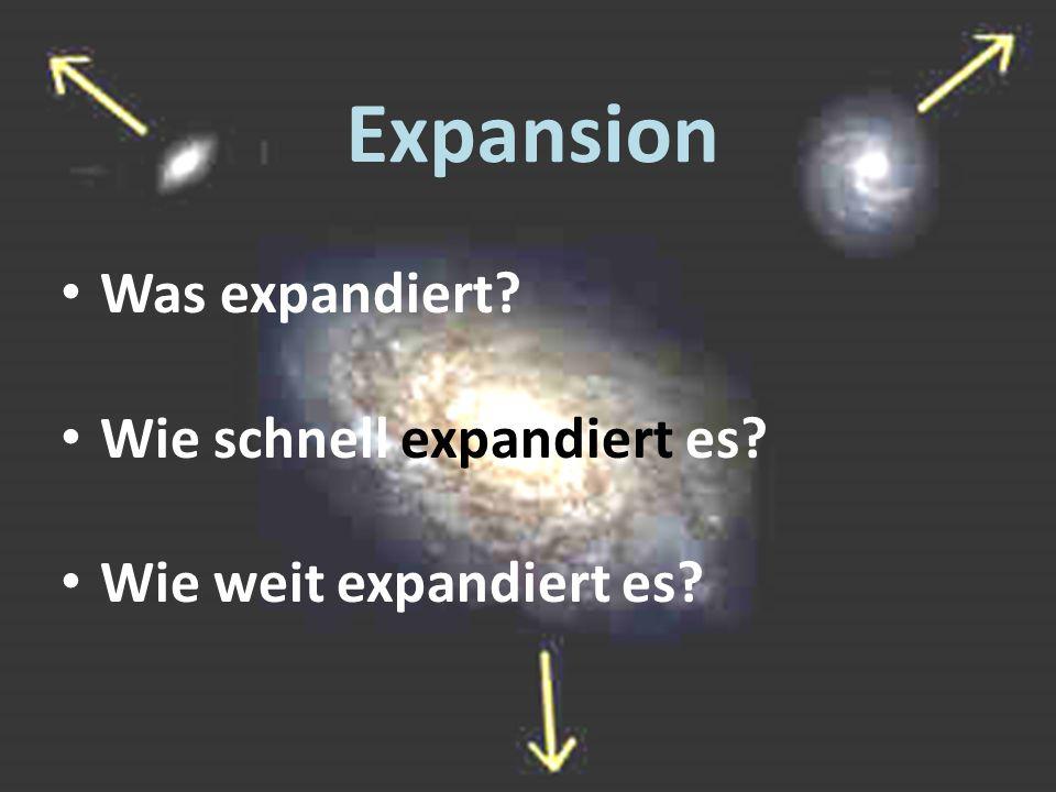 Expansion Was expandiert Wie schnell expandiert es