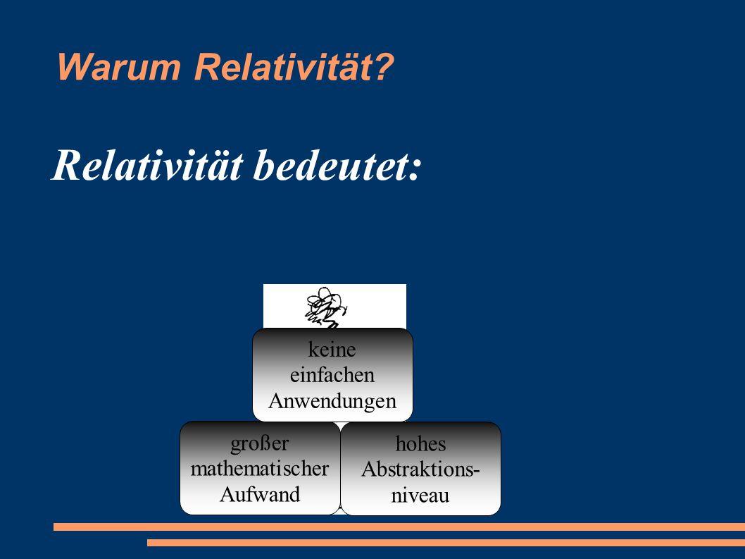Relativität bedeutet: