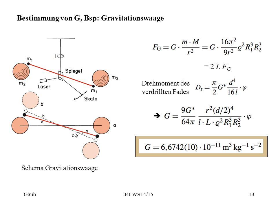 Bestimmung von G, Bsp: Gravitationswaage