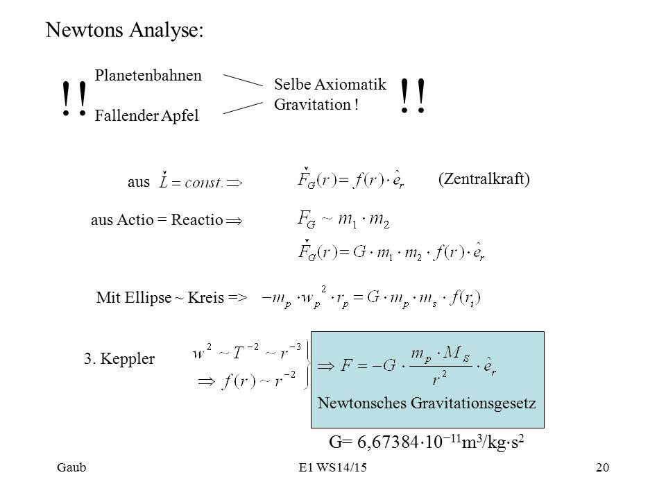 !! Newtons Analyse: G= 6,67384⋅10−11m3/kg⋅s2 Planetenbahnen
