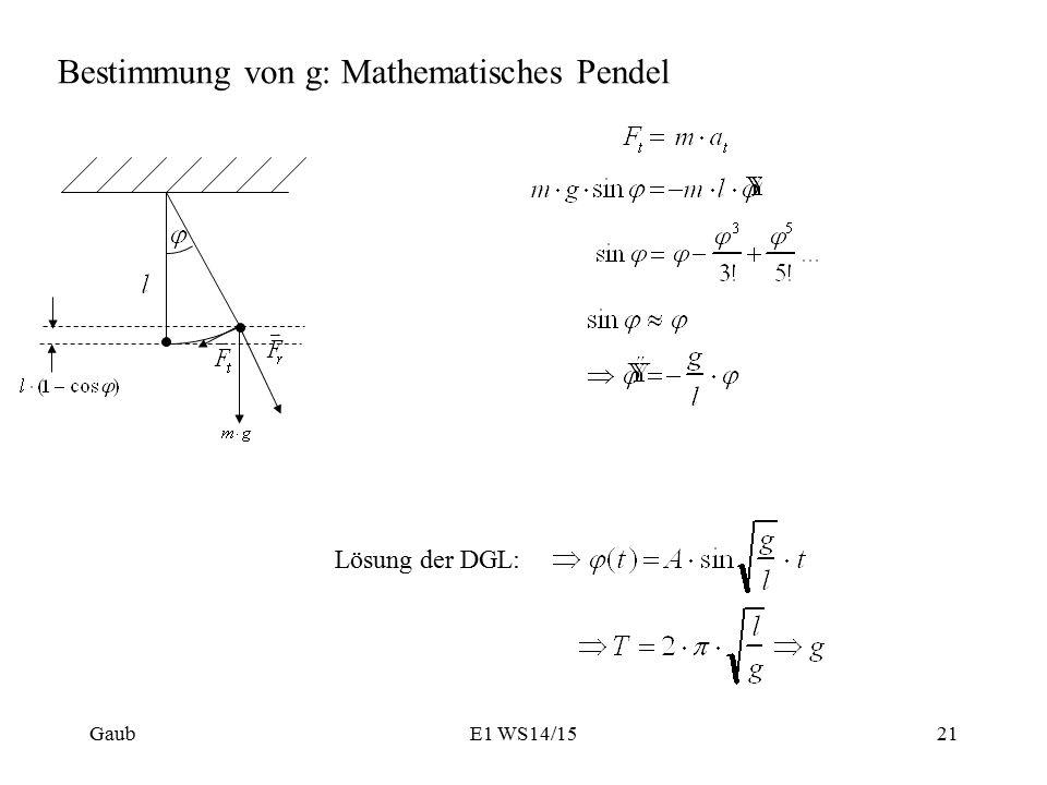 Bestimmung von g: Mathematisches Pendel