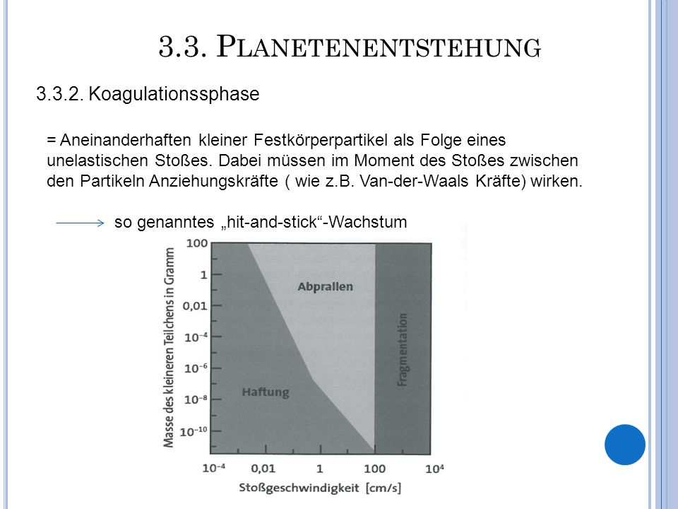 3.3. Planetenentstehung 3.3.2. Koagulationssphase